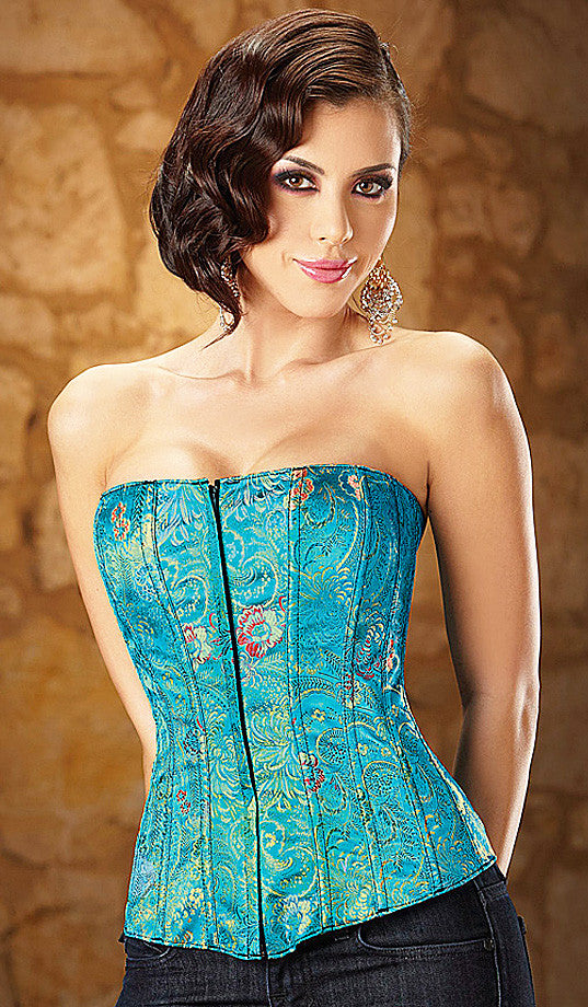 Women's Corset - Tesa Front-Zip Embroidered Turquoise Brocade by Escante