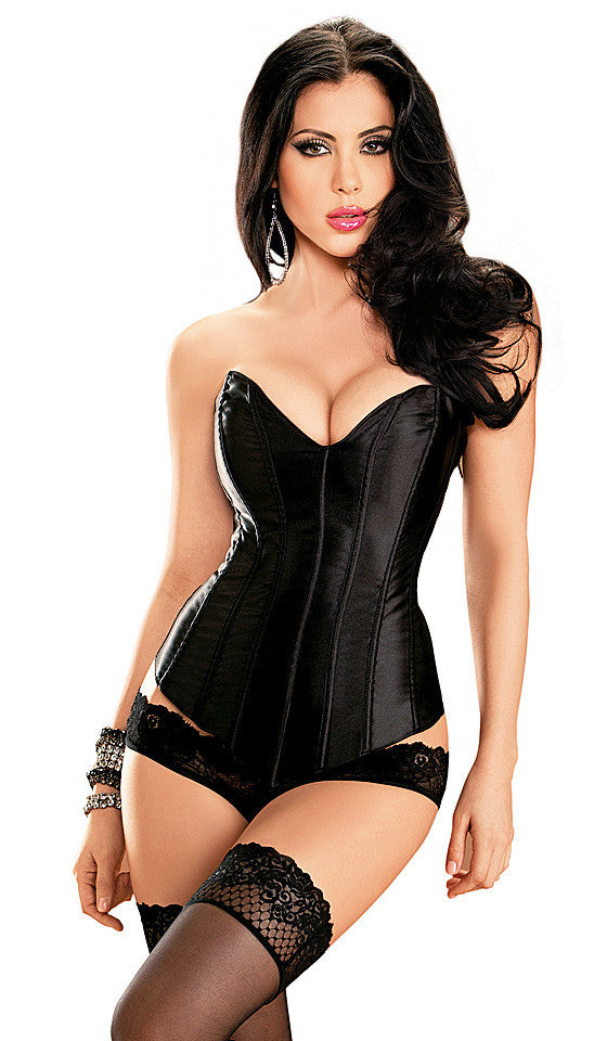 Women's Corset - Tesa Black Sweetheart Satin Strapless by Escante