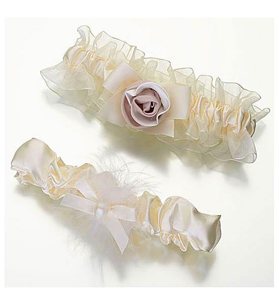 Bridal Garter Set - Ivory Rose Bouquet on Satin & Chiffon