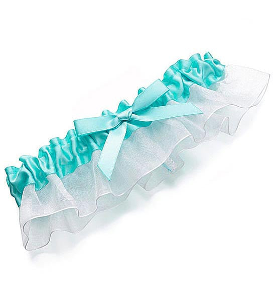 Bridal Garter - Blue Satin Ribbon w/Bow Tie on Chiffon