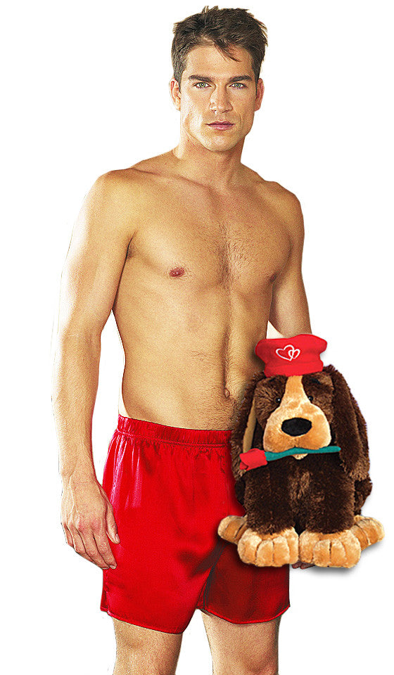 Red Silk Boxer Shorts - Plush Giselle Valentine's Day Gift Set