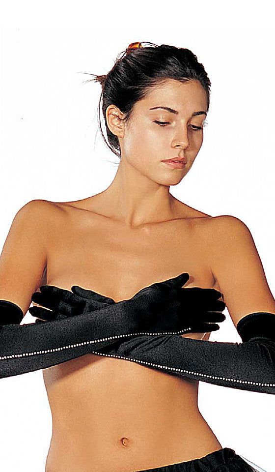 Women's Gloves - Black Stretch Spandex Gloves w/Rhinestone Trim