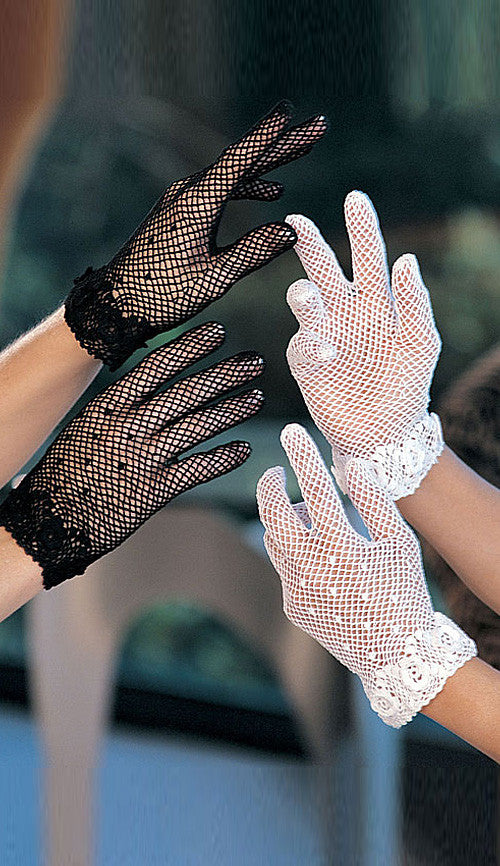 Women' Gloves - Short Stretch Crochet Knit Gloves in Black or White