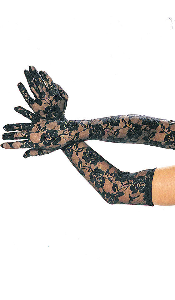 Women's Gloves - Elbow-Length Roses Print White Stretch Lace