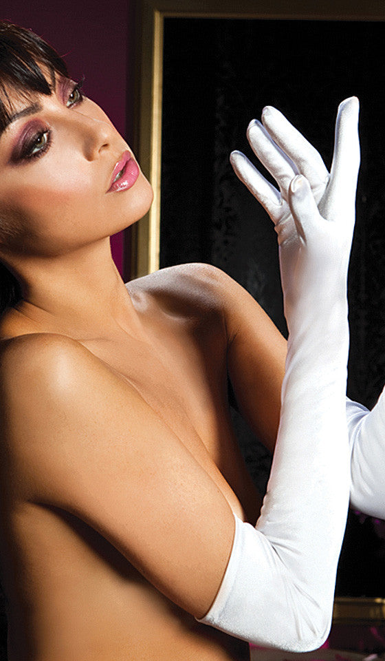Women's long stretch spandex opera-length gloves - White