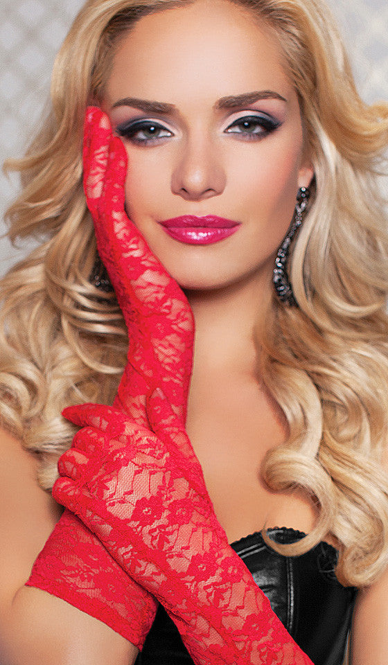 Women's Gloves - Red Elbow-Length Floral Print Stretch Lace