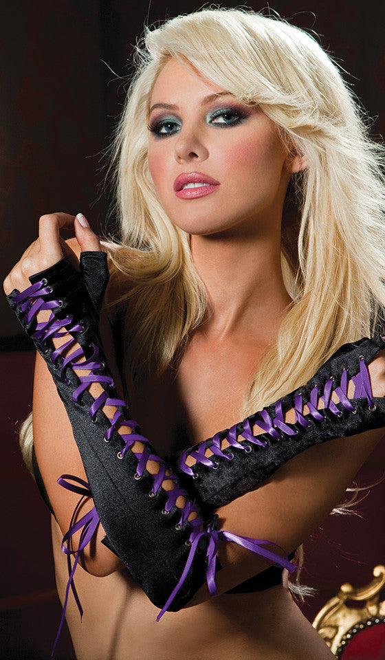 Gloves - Black & Purple Elbow-Length Lace-Up & Fingerless
