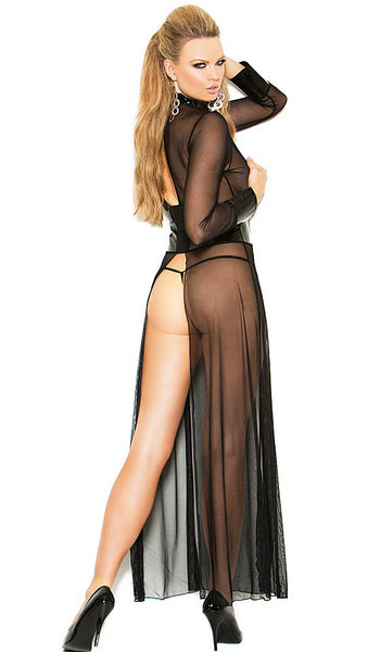 Nightgown - Long Sleeve Black Mesh w/Vinyl Trim by Elegant Moments - back view