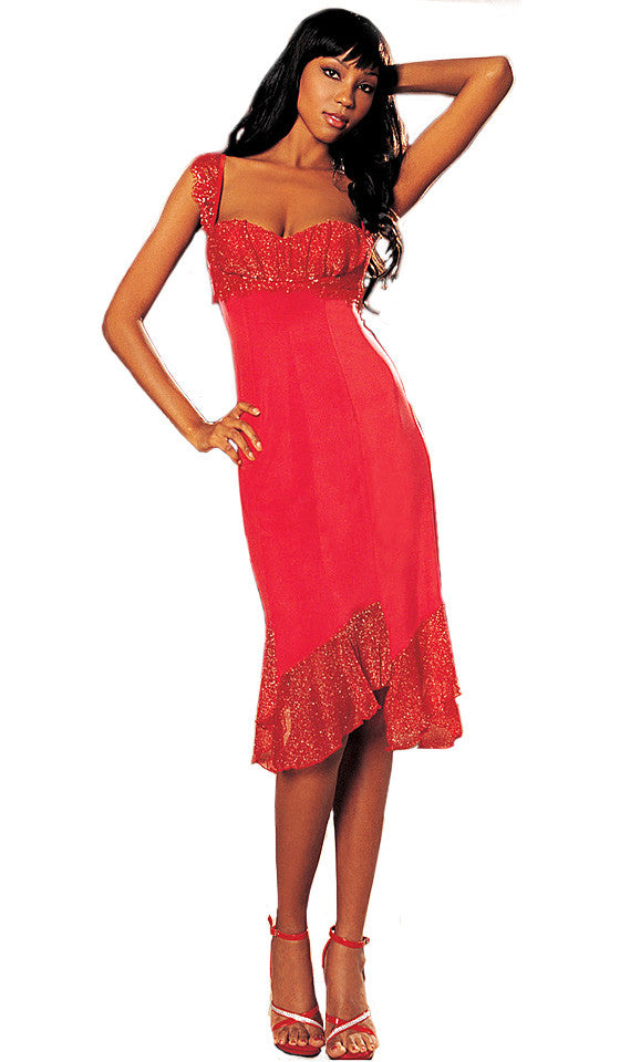 Women's Nightgown - Elegant Red Knit Gown w/Metallic Net Trim by Shirley of Hollywood