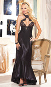 Women's Black Satin Charmeuse Nightgown with Cutout Lace by Shirley of Hollywood