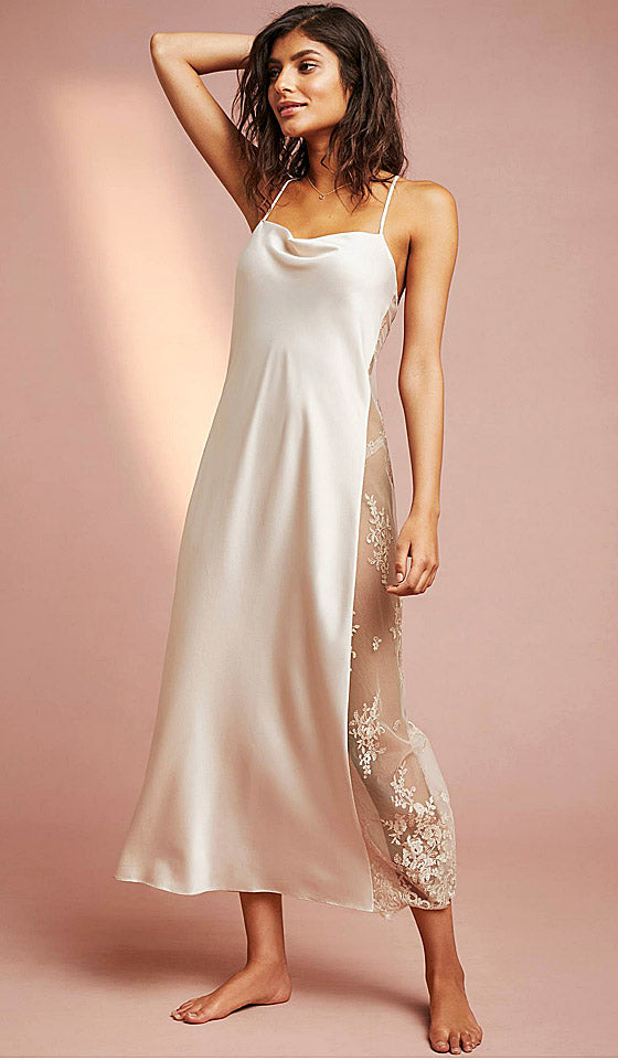 Women's Darling bridal satin charmeuse and lace peignoir set/nightgown and lace robe - champagne by Rya Collection