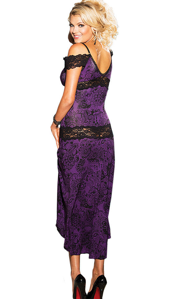Women's Nightgown - Purple Print with Black Lace Inserts by Shirley of Hollywood