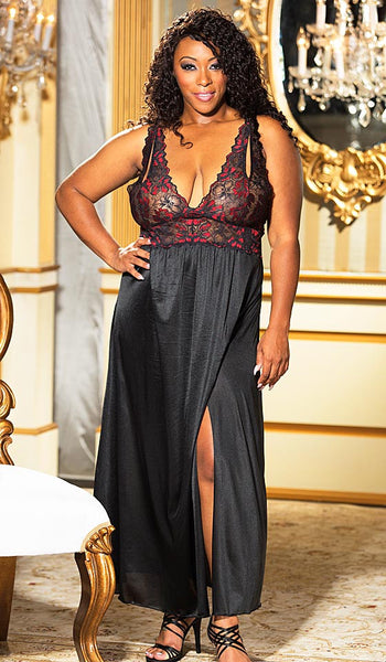 Women's Nightgown - Elegant Black & Red Glisenette Nylon & Stretch Lace by Shirley of Hollywood