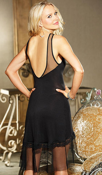 Nightgown - Rayon Jersey Knit Ballerina Length in Black by Shirley of Hollywood - back view