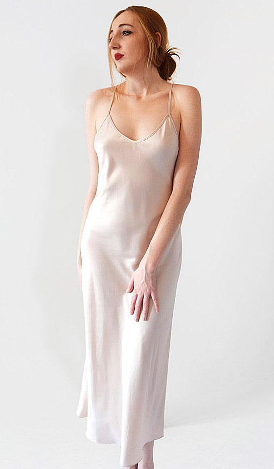 Women's Kiss Satin Charmeuse Champagne-Beige Nightgown/Peignoir by Rya Collection