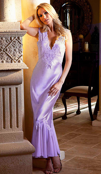 "Women's Nightgown - Lavender ""Harlow"" Satin, Chiffon & Lace by Rhonda Shear"
