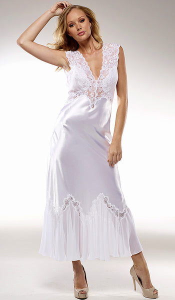"Women's Nightgown - ""Harlow"" Ivory Satin & Lace Bridal by Rhonda Shear"