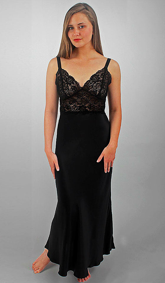 "Women's ""Colette"" black silk charmeuse nightgown with lace bodice by Linda Hartman"