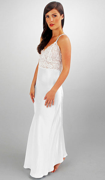 Women's Collette White Silk Charmeuse Gown w/Lace Bodice by Linda Hartman