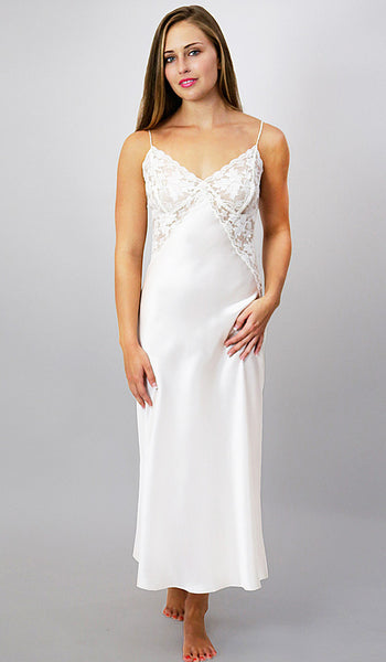 Women's Natalia Silk Charmeuse Gown w/Floral Lace Bodice in White by Linda Hartman - view 3