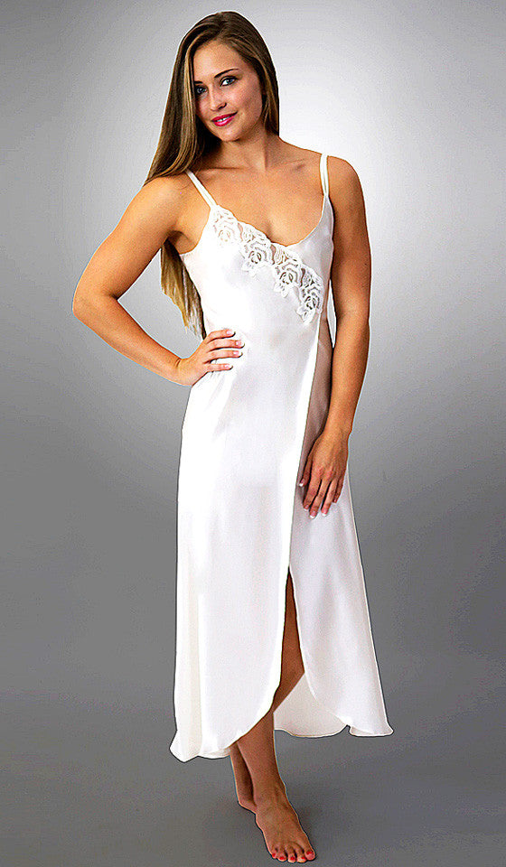 Women's Desiree Silk Charmeuse Gown w/Embroidered Appliqué in White by Linda Hartman