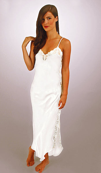 Women's Porcelain Silk Charmeuse Nightgown with Lace Trim by Linda Hartman - view 2