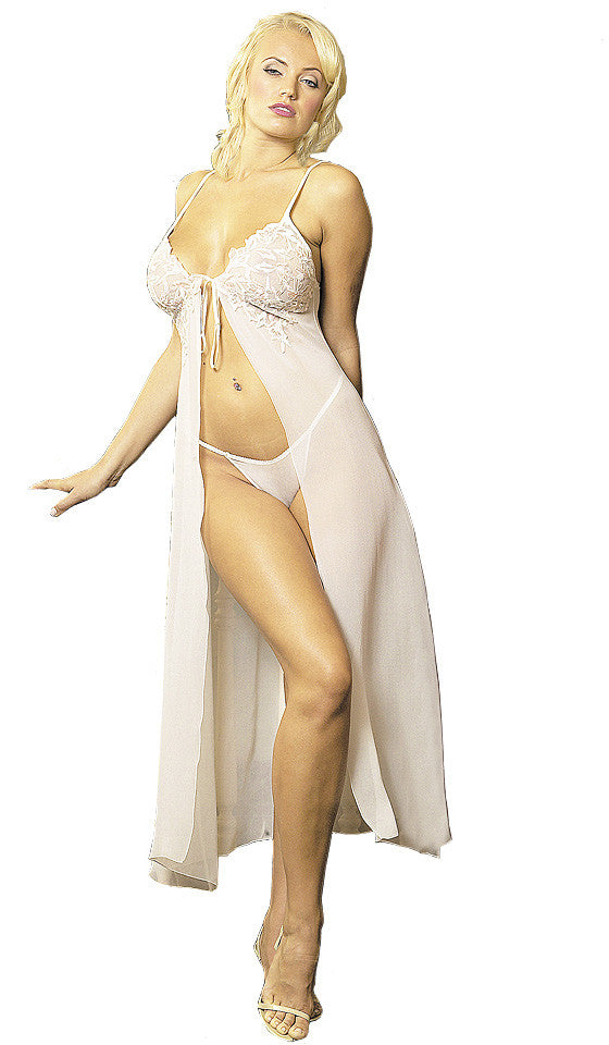 Women's Nightgown - Silk Chiffon Ivory Tie-Front w/Embroidered Bodice by Magic Silk
