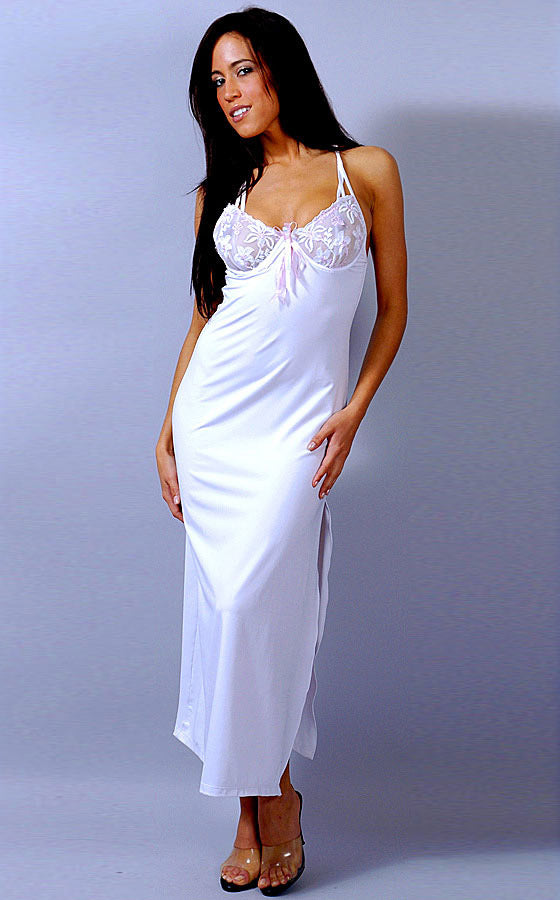 Women's white microfiber bridal gown with embroidered cups