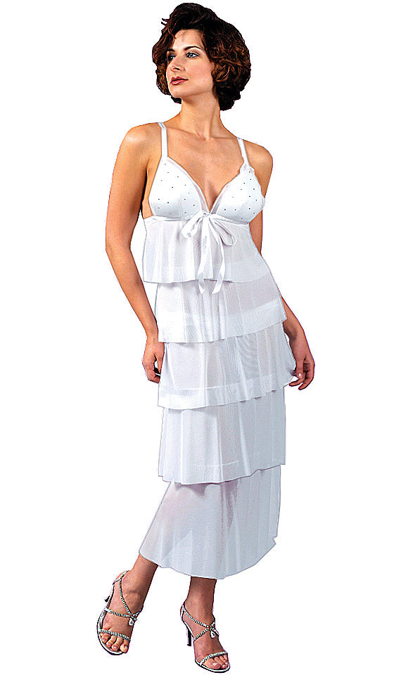 Women's sheer white mesh tiered bridal gown