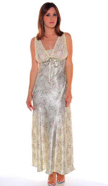 Women's Nightgown - Satin Charmeuse Floral Print w/Stretch Lace Bodice