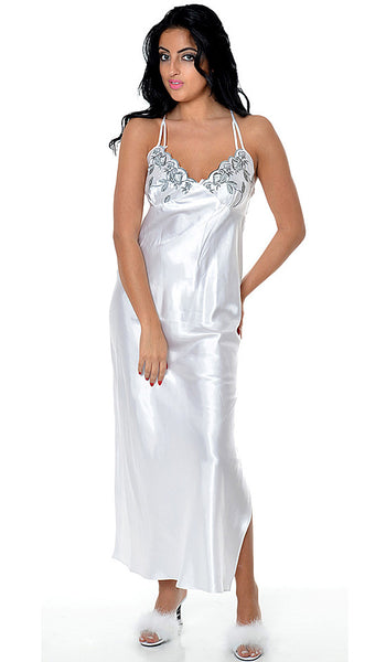 Nightgown - Bridal White Charmeuse w/Gray Embroidered Cups