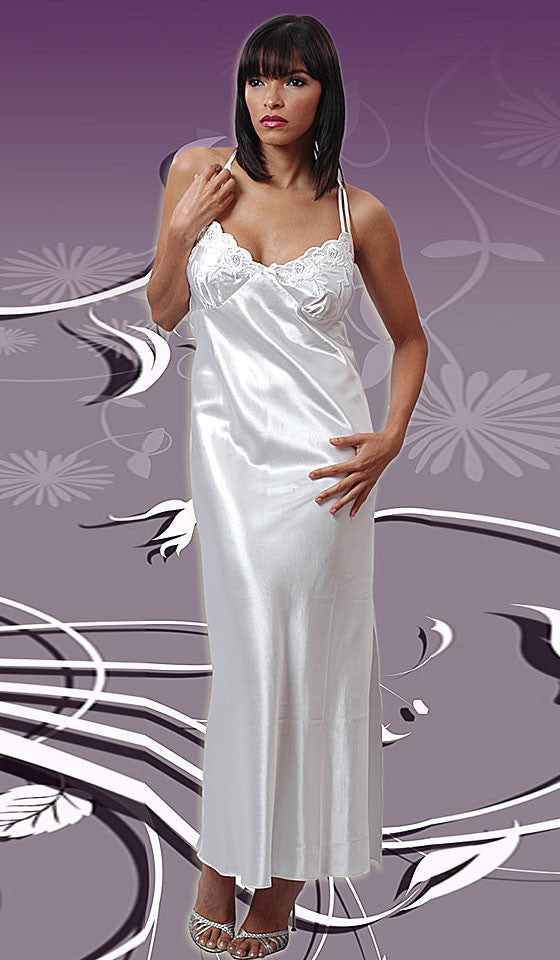 Bridal White Charmeuse Nightgown W Embroidered Cups Robe