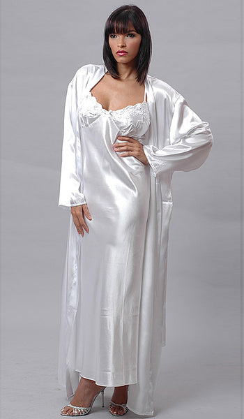 Nightgown & Robe Peignoir Set - Bridal White Charmeuse w/Silver Embroidered Cups