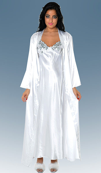 Nightgown & Robe Peignoir Set - Bridal White Charmeuse w/Gray Embroidered Cups