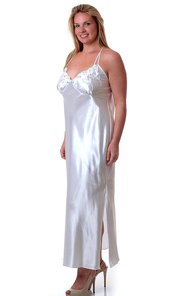 Nightgown - Bridal White Charmeuse w/Silver Embroidered Cups - view 2