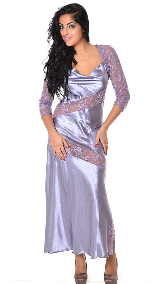 Women's Nightgown - Satin Charmeuse w/Lace Inserts-Lilac