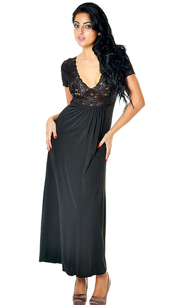 Women's Nightgown - Black Microfiber & Stretch Lace w/Cap Sleeves