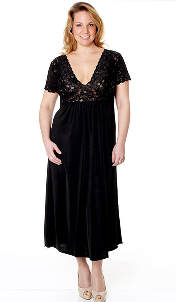 Women's Nightgown - Black Microfiber & Stretch Lace w/Cap Sleeves - view 3