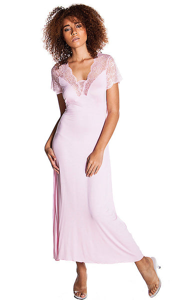 Women's Nightgown - Pink Stretch Knit & Lace w/Cap Sleeves