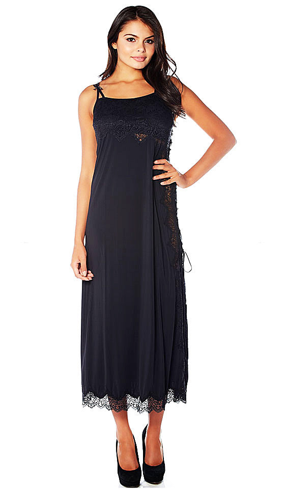 "Women's Nightgown - ""Sweet Beverly"" Black Butterknit w/Lace Trim by Rhonda Shear"