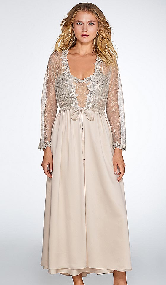 6ae6ebbbb95 ... Women s Showstopper Charmeuse Venice Lace Bridal Peignoir Set in  Champagne by Flora Nikrooz ...