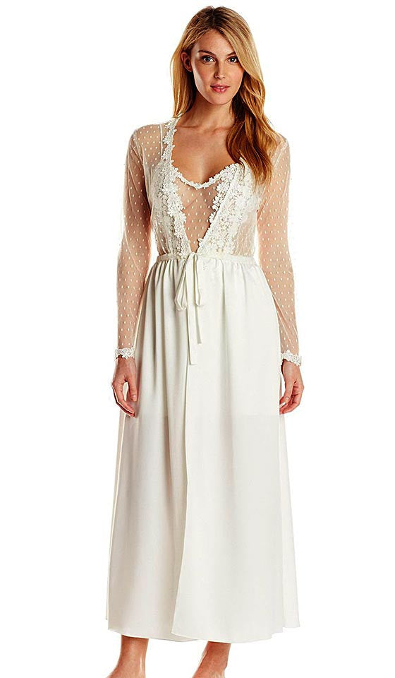 and Women's Showstopper Charmeuse Venice Lace Bridal Peignoir Set in Ivory by Flora Nikrooz