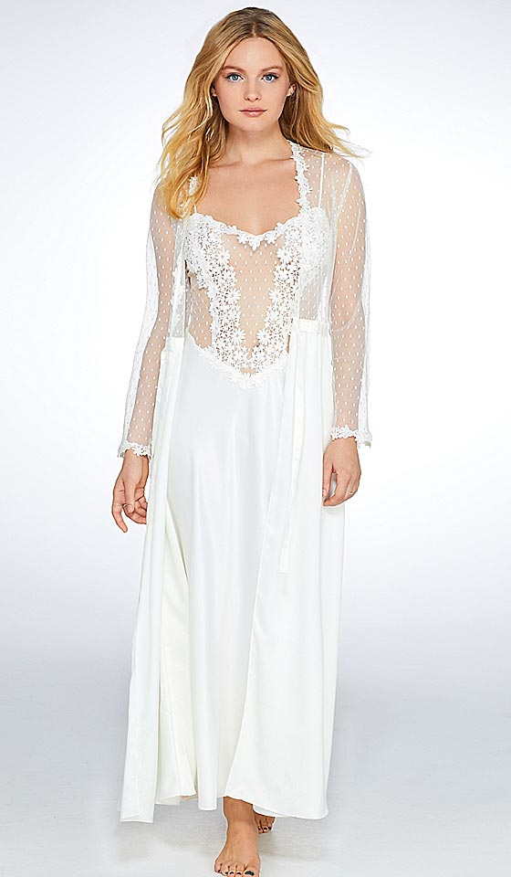 Women's Showstopper Charmeuse Venice Lace Bridal Peignoir Set in Ivory by Flora Nikrooz
