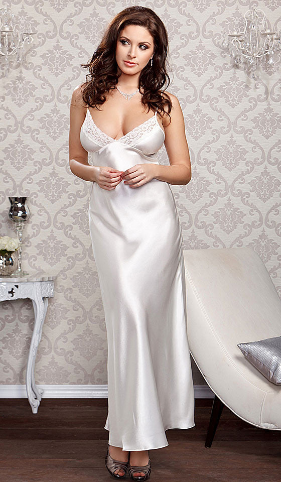 Women's Nightgown - White Bridal Lace-Trimmed w/Lace-Up Back by iCollection