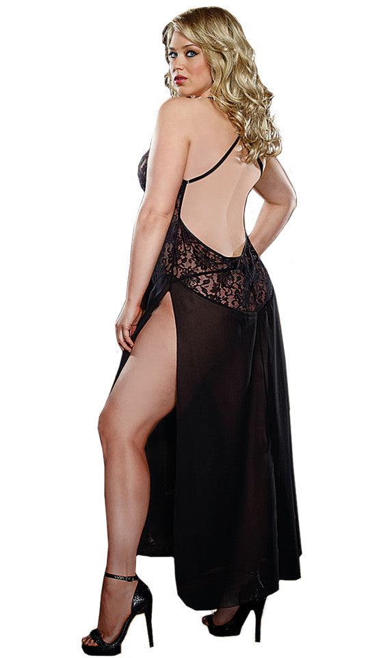 Women's Nightgown - Black Stretch Lace & Chiffon Low-Back by Dreamgirl