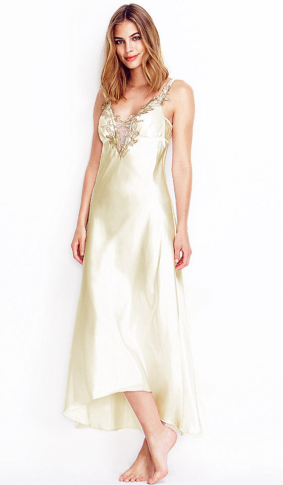 "Women's Ivory White Long Bridal Nightgown with Lace Appliqué ""Stella"" by Flora Nikrooz"