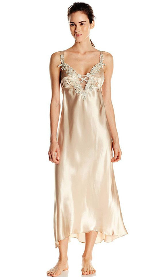 Women's Stella Charmeuse Venice Lace Bridal Peignoir Set Nightgown and Robe in Almond by Flora Nikrooz
