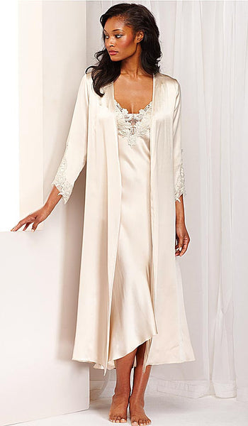 Women's Stella Charmeuse Venice Lace Bridal Nightgown and Robe in Almond by Flora Nikrooz