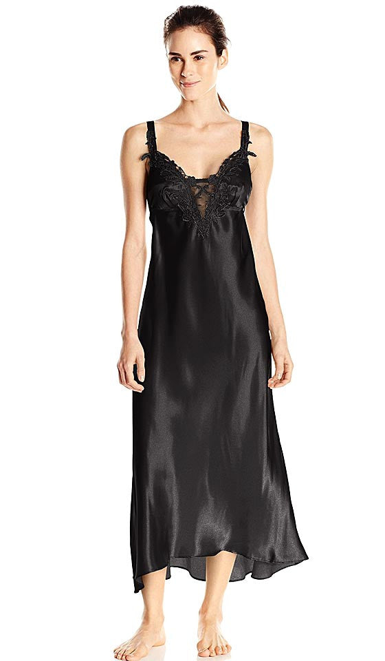 4d40c264d54 Women s Stella Charmeuse Venice Lace Nightgown in Black by Flora Nikrooz ...