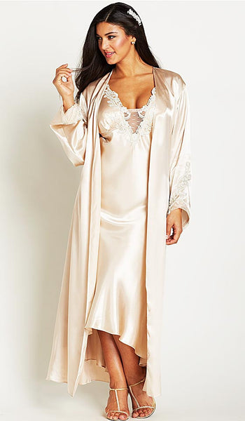 Women's Stella Charmeuse Venice Lace Bridal Nightgown and Robe in Almond by Flora Nikrooz - view 2